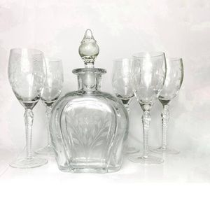 Vintage etched floral decanter with 5 wine glasses